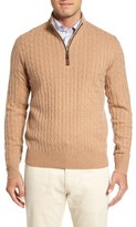 Peter Millar Men's Crown Cable Knit Wool Blend Quarter Zip Pullover