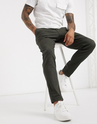 Selected slim fit cooper chinos in green