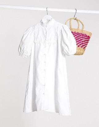 Lola May smock dress with puff sleeve