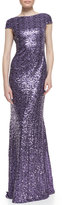 Badgley Mischka Cap-Sleeve Cowl-Back Sequined Gown, Lilac