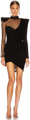 Balmain Asymmetric Draped Swiss Dot Mini Dress in Black | FWRD