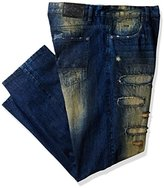 Southpole Men's Big and Tall Bt Long Denim with Destructed Backed Ripped and Repaired