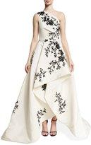 Monique Lhuillier One-Shoulder High-Low Draped Gown, White/Black