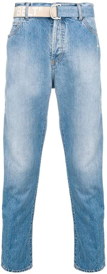 Off-White belted straight-leg jeans