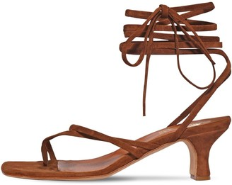 Paris Texas 45mm Suede Toe Ring Lace-Up Sandals