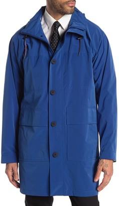 Tommy Hilfiger Packable Hood Zip Front Long Jacket