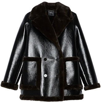 Theory Faux Fur-Trimmed Faux Leather Peacoat
