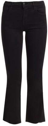 J Brand Selena Mid-Rise Raw Hem Crop Bootcut Jeans