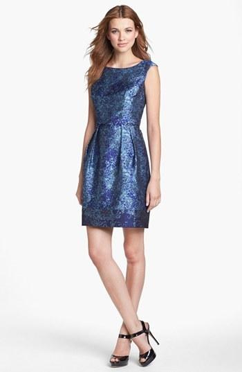 Donna Ricco Jacquard Satin Sheath Dress