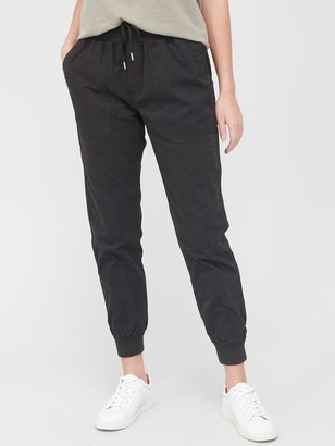 Very Knit Trim Woven Cotton Jogger Trouser - Black