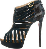 Christian Louboutin Python-Trimmed Cage Sandals