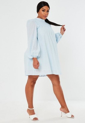 Missguided Plus Size Blue Shirred Smock Mini Dress