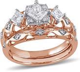 Laura Ashley 1 CT TW Princess-Cut Diamond 10K Rose Gold 3-Stone Bridal Set