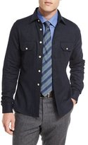 Kiton Wool-Blend Over-Shirt Jacket, Navy