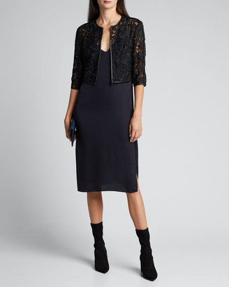 Susan Bender Lace Cropped Zip-Front Jacket