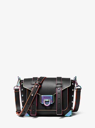 MICHAEL Michael Kors MK Manhattan Small Contrast-Trim Leather Crossbody Bag - Black - Michael Kors