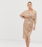 TFNC Maternity Maternity 3/4 sleeve waist knot midi dress in rose gold