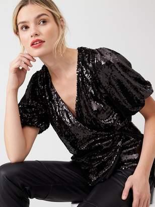 Very Puff Sleeve Sequin Wrap Top - Black