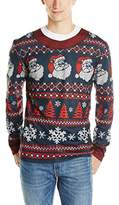 Faux Real Men's Santa Striped Ugly Christmas Sweater Printed T-Shirt