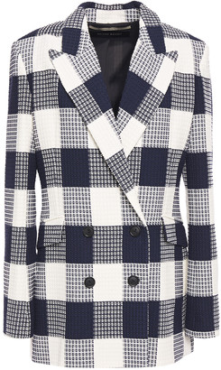 Roland Mouret Harleston Double-breasted Checked Cotton-blend Boucle-jacquard Blazer