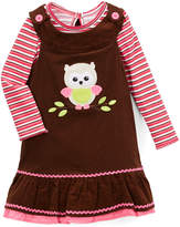 Children's Apparel Network Pink & Denim Stripe Owl Jumper & Tee - Infant, Toddler & Girls