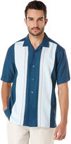 Cubavera Short Sleeve Tri-Color Panel Shirt With Ombre Geo Embroidery
