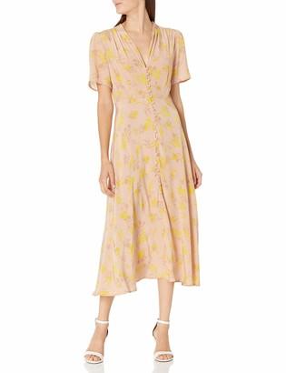 ASTR the Label Women's Short Sleeve Harmony V-Neck Button Up Midi Dress
