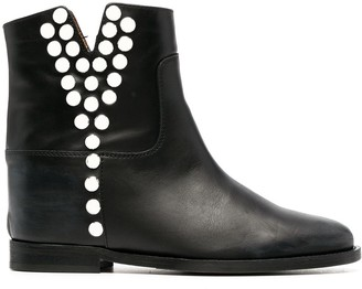 Via Roma 15 Studded Leather Ankle Boots