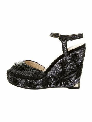 Jimmy Choo Floral Print Sandals Black