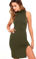 Soprano Love It Olive Green Bodycon Dress