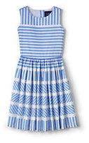 Lands' End Girls Plus Sleeveless Twirl Dress-Fresh Blue Stripe