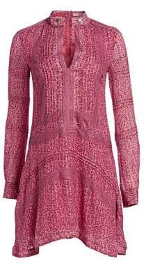 Derek Lam 10 Crosby Women's Floral Embroidered Peasant Dress - Fuchsia - Size 6