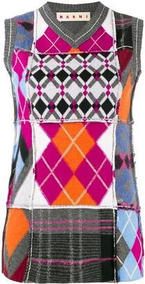 Marni Argyle Knit Patchwork Tank Top