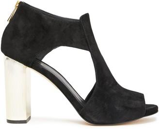 MICHAEL Michael Kors Cutout Gold Tone-paneled Suede Sandals