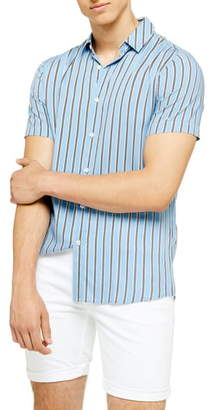 Topman Short Sleeve Stripe Slim Fit Shirt