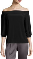 Laundry by Shelli Segal Off-the-Shoulder Peasant Top, Black
