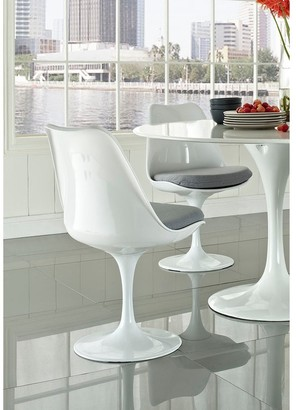 Bsd National Supplies Deland Tulip Style Swivel Dining Chair with Grey Cushioned Seat