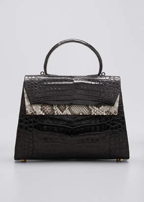 Nancy Gonzalez Small Double-Pocket Python & Crocodile Top-Handle Bag