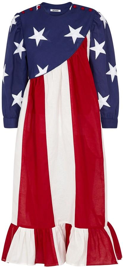 Batsheva American Flag cotton midi dress
