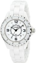 Akribos XXIV Women's AK485WT-N Diamond-Accented White Ceramic Bracelet Watch