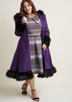 Hell Bunny Northeast Nobility Coat in Violet in 4X - Fit & Flare Coat by Hell Bunny from ModCloth