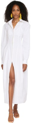 Jacquemus Back Cutout Cotton Poplin Midi Dress