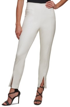 DKNY Faux-Leather Side-Zip Skinny Ankle Pants