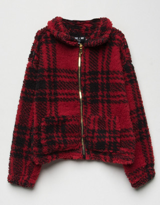 Love + Joy Plaid Sherpa Girls Jacket