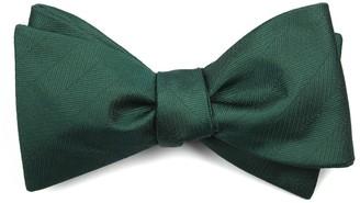 Tie Bar Herringbone Vow Hunter Green Bow Tie