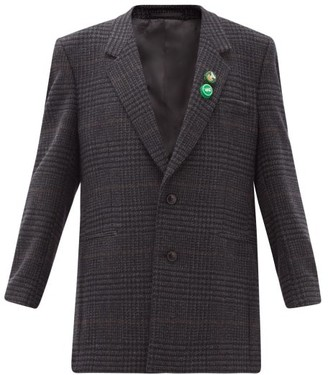 Martine Rose Dc10 Bottle-cap Single-breasted Check Wool Jacket - Grey