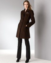 Ellen Tracy Petites' Single Breasted Reefer Coat with Handkerchief