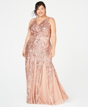 Night Way Nightway Plus Size Sequined Mesh Gown