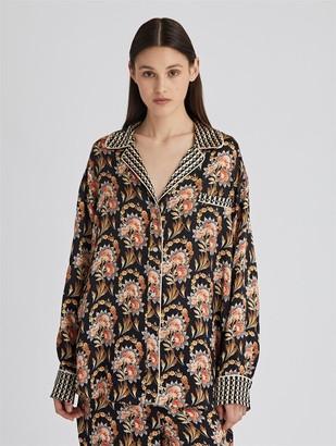 Oscar de la Renta Tapestry Floral Satin Crepe Pajama Shirt