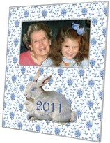 The Well Appointed House Bunny on Blue Provencial Print Decoupage Photo Frame-Can Be Personalized